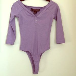 Polly Esther 3/4 sleeve button front bodysuit SM